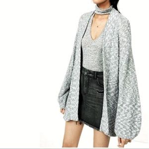 EXPRESS Balloon Sleeve Marled Open Front Cardigan